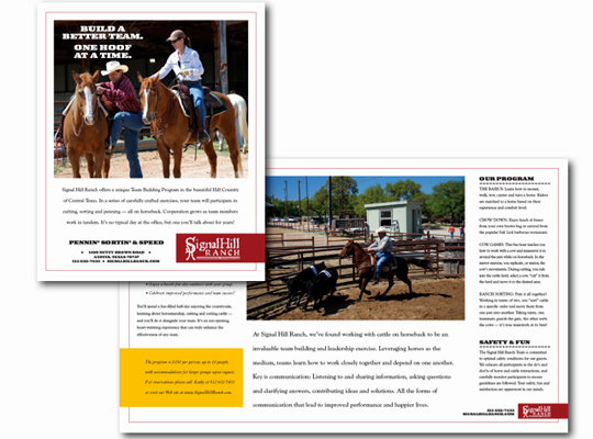 Cover and interior pages of a small business marketing brochure depict Paula Minahan's work for client Signal Hill Ranch