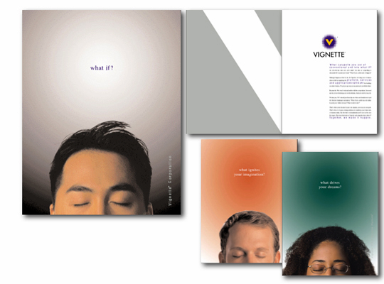 Selected brochure covers for Paula Minahan's client Vignette illustrate her dramatic rebranding concept for the corporation